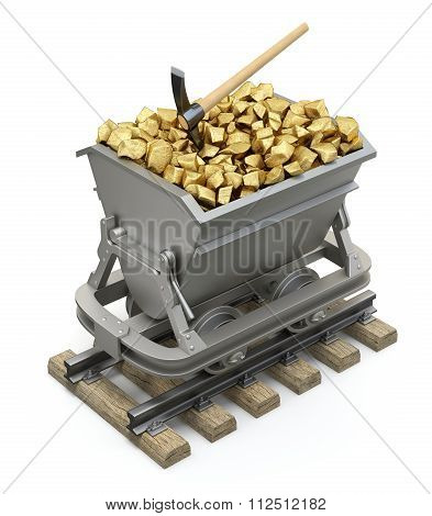 Gold nuggets in the mining cart