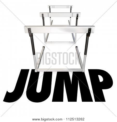 Jump word over hurdles to illustrate challenge, danger and risk to overcome