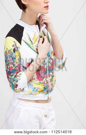 Young Woman In The Sporty Color Dress