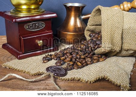 Coffee Grinder, Turk And Cup Of Coffee