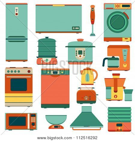 Set of kitchen appliances in flat style. Isolated on the white. Vector illustration.