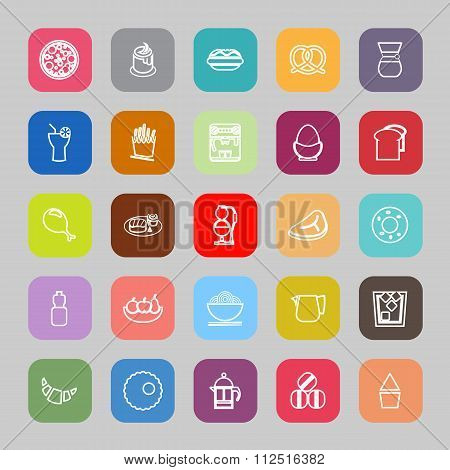 Easy Meal Flat Line Flat Icons