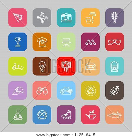 Hipster Line Flat Icons