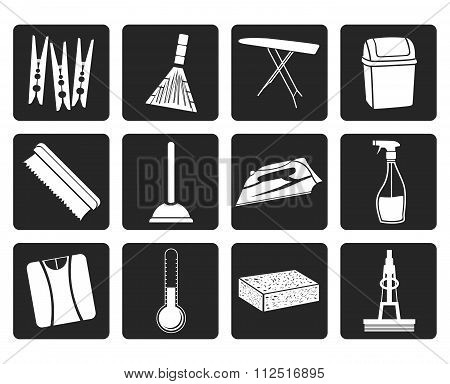 Black Home objects and tools icons