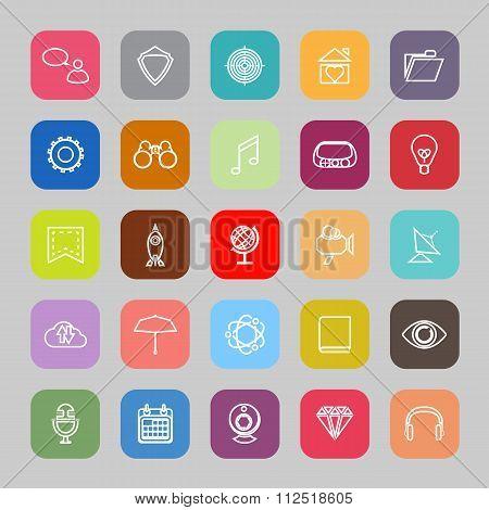 Seo Line Flat Icons
