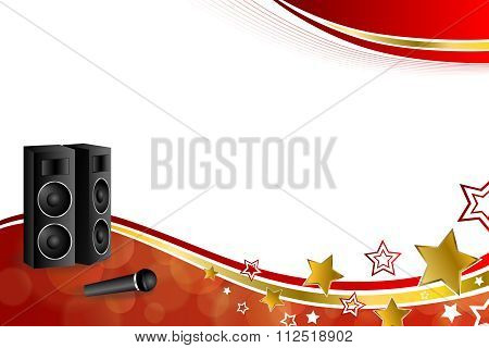 Background abstract karaoke microphone loudspeaker star red yellow gold ribbon frame illustration
