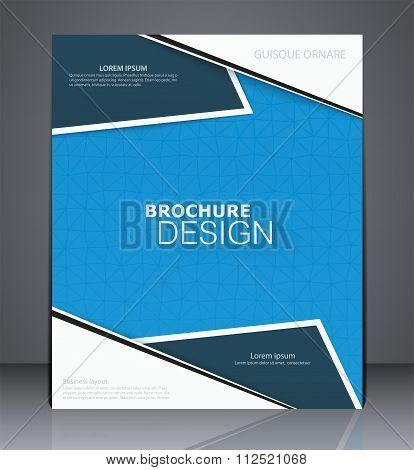 Abstract Business Brochure Flyer Design In A4 Size, Layout Cover Design In Blue Colors