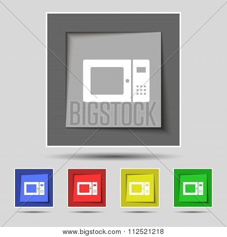 Microwave Icon Sign On Original Five Colored