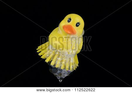 Rubber Duck Brush With Foam Isolated On Black