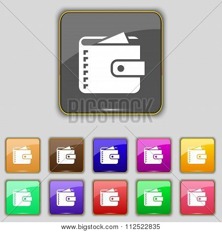 Purse  Icon Sign. Set With Eleven Colored Buttons For Your Site.