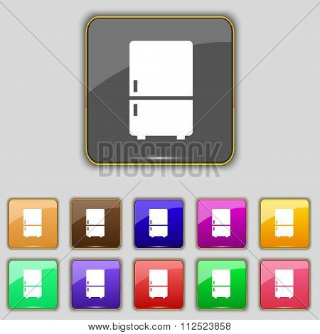Refrigerator Icon Sign. Set With Eleven Colored Buttons For Your Site.