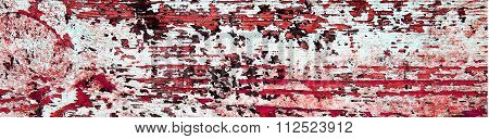Flaking Blood Red Paint On White Wood, Grunge Background Texture - Panorama.
