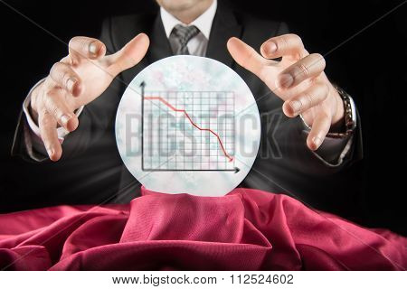 Fortune teller businessman, sees falling graph in a crystal ball