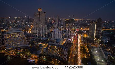 Aerial Night Scene Of Bangkok Sky Scraper Beside Chaopraya River Thailand Capital
