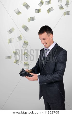 young man with a wallet