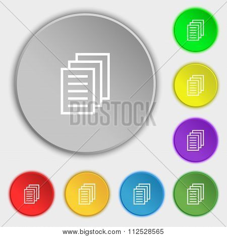 Copy File, Duplicate Document Icon Sign. Symbol On Eight Flat Buttons.