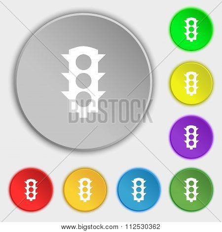 Traffic Light Signal Icon Sign. Symbol On Eight Flat Buttons.