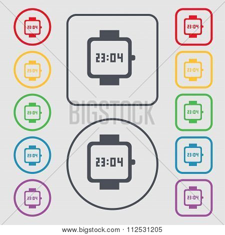 Wristwatch Icon Sign. Symbol On The Round And Square Buttons With Frame.