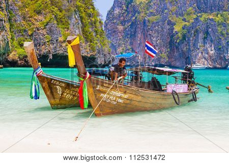 Phuket DECEMBER 15 2015 - Long tail boat to bring tourist to travel to beautiful Island in Thailand on December 15th 2015