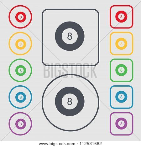 Eightball, Billiards  Icon Sign. Symbol On The Round And Square Buttons With Frame.