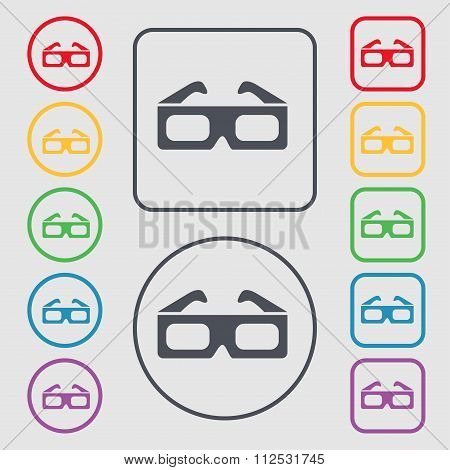 3D Glasses Icon Sign. Symbol On The Round And Square Buttons With Frame.
