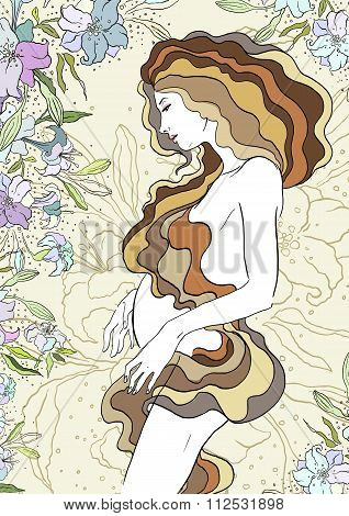 Mother's Day card with beautiful pregnant woman, vector illustration