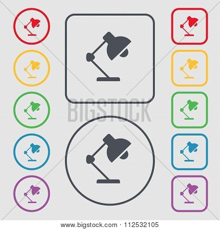 Reading-lamp And Lighting, Illumination Icon Sign. Symbol On The Round And Square Buttons With
