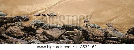Rock And Sand Background Texture - Beach Panorama.