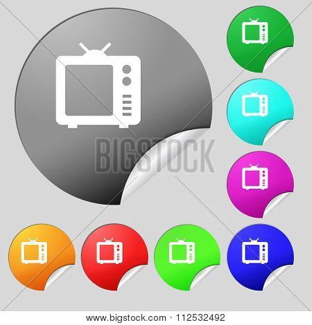 Old Tv, Television Icon Sign. Set Of Eight Multi Colored Round Buttons, Stickers.