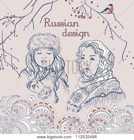 Russian  traditional syle set, hand drawn simple sketches of russian girls and nature.  Vector isola