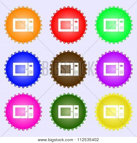 Microwave Icon Sign. A Set Of Nine Different Colored Labels.