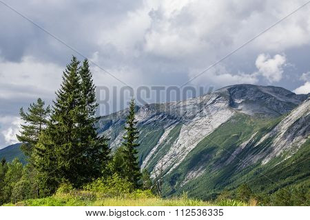 Landscape With Mountains And Trees In Norway