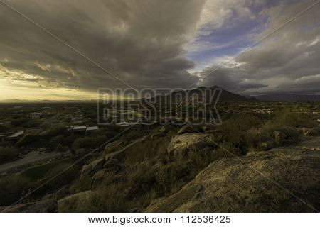 Golden hour Arizona sweeping desert boulder mountain landscape, Scottsdale facing West Phoenix.