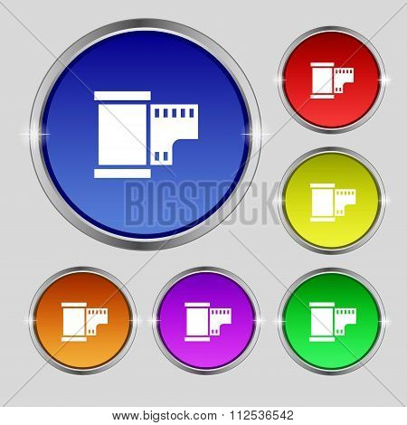 35 Mm Negative Films Icon Sign. Round Symbol On Bright Colourful Buttons.