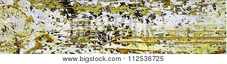 Flaking Yellow Paint On Wood, Grunge Background Texture - Panorama.