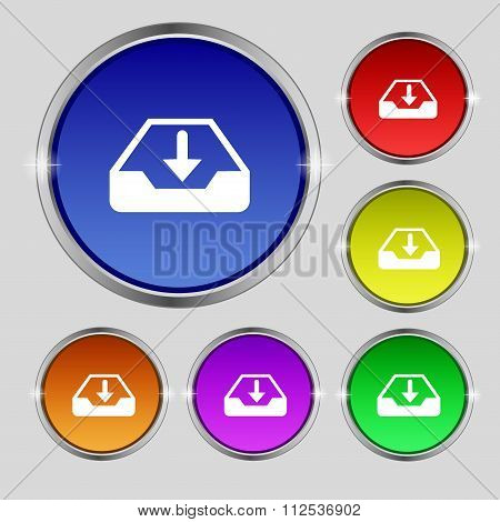 Restore Icon Sign. Round Symbol On Bright Colourful Buttons.
