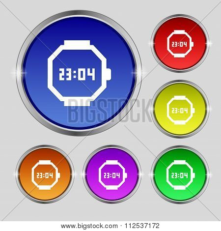 Wristwatch Icon Sign. Round Symbol On Bright Colourful Buttons.