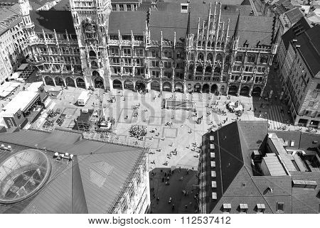 Munich, Germany-july 08: Marienplatz Crowd From The Top In Munich In Sunny Day In Black And White On