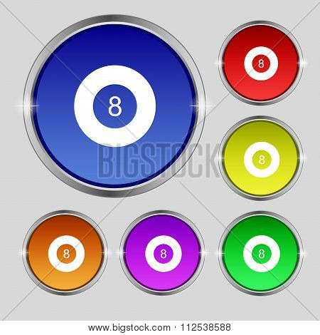 Eightball, Billiards  Icon Sign. Round Symbol On Bright Colourful Buttons.
