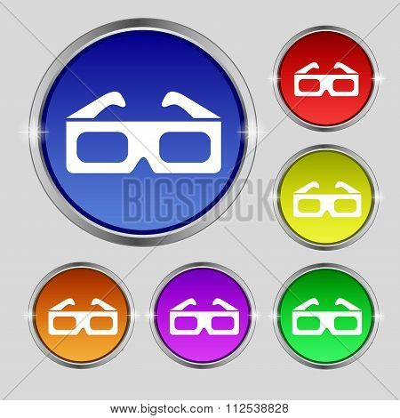 3D Glasses Icon Sign. Round Symbol On Bright Colourful Buttons.