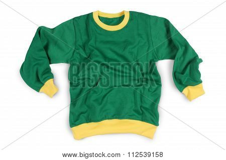 Winter Wear Full Sleeve T-shirts Mockup In Green Yellow Color