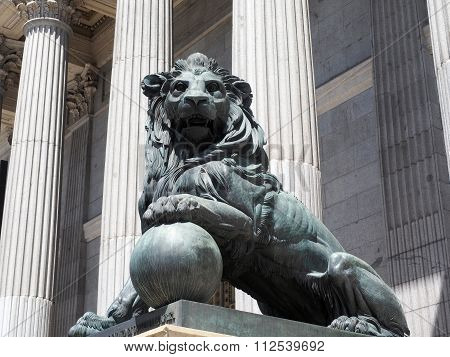 Lion Statue Entrance To Congress Of The Deputies Madrid Spain Government Buildng