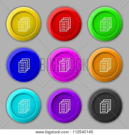 Copy File, Duplicate Document Icon Sign. Symbol On Nine Round Colourful Buttons.