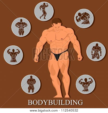 bodybuilding template, man with set of Icons. Vector illustration