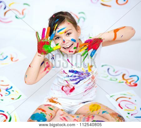 Cute Girl Playing With Paints