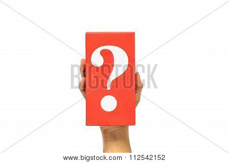 Hand Holding Mysterious Box Over White Background