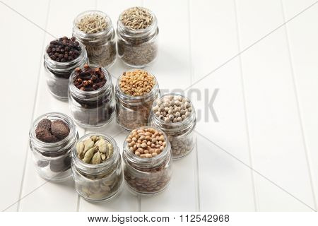 assorted spices in a glass container form alphabet s