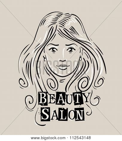 beauty salon vector logo design template. barbershop or beautiful girl, woman icon