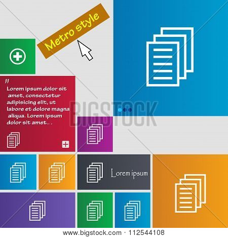 Copy File, Duplicate Document Icon Sign. Buttons. Modern Interface Website