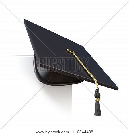 Graduation cap on blank board corner. 3D